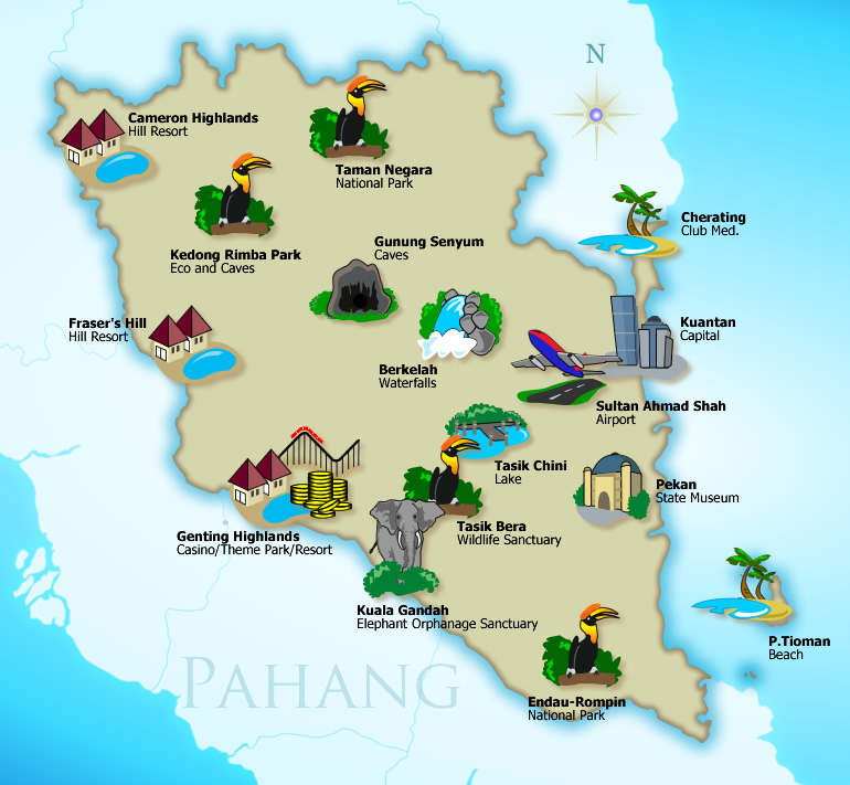 Malaysia Map Tourist Places – Malaysia Tourist Attractions Map